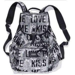VS PINK campus sequin silver backpack full size